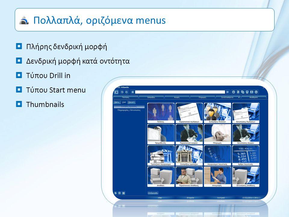 Πολλαπλά, οριζόμενα menus  Πλήρης δενδρική μορφή  Δενδρική μορφή κατά οντότητα  Τύπου Drill in  Τύπου Start menu  Thumbnails