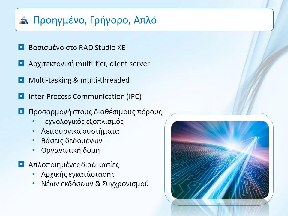 Ευέλικτο σύστημα διαχείρισης δεδομένων και υποδομών  Οριζόμενες μηχανές διασύνδεσης με βάσεις δεδομένων BDE ADO DB Express  Ενσωματωμένος κατανομέας συνδέσεων client / server  Ανίχνευση αστοχίας δικτύου και ενεργοποίηση λειτουργίας off-line