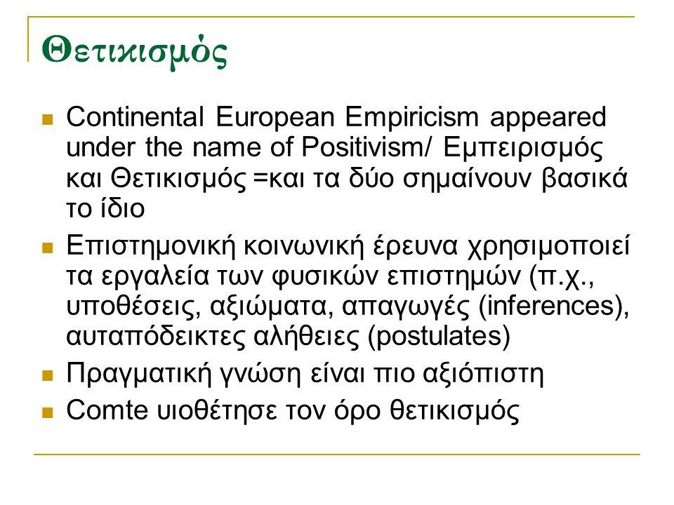 Θετικισμός Continental European Empiricism appeared under the name of Positivism/ Εμπειρισμός και Θετικισμός =και τα δύο σημαίνουν βασικά το ίδιο Επισ