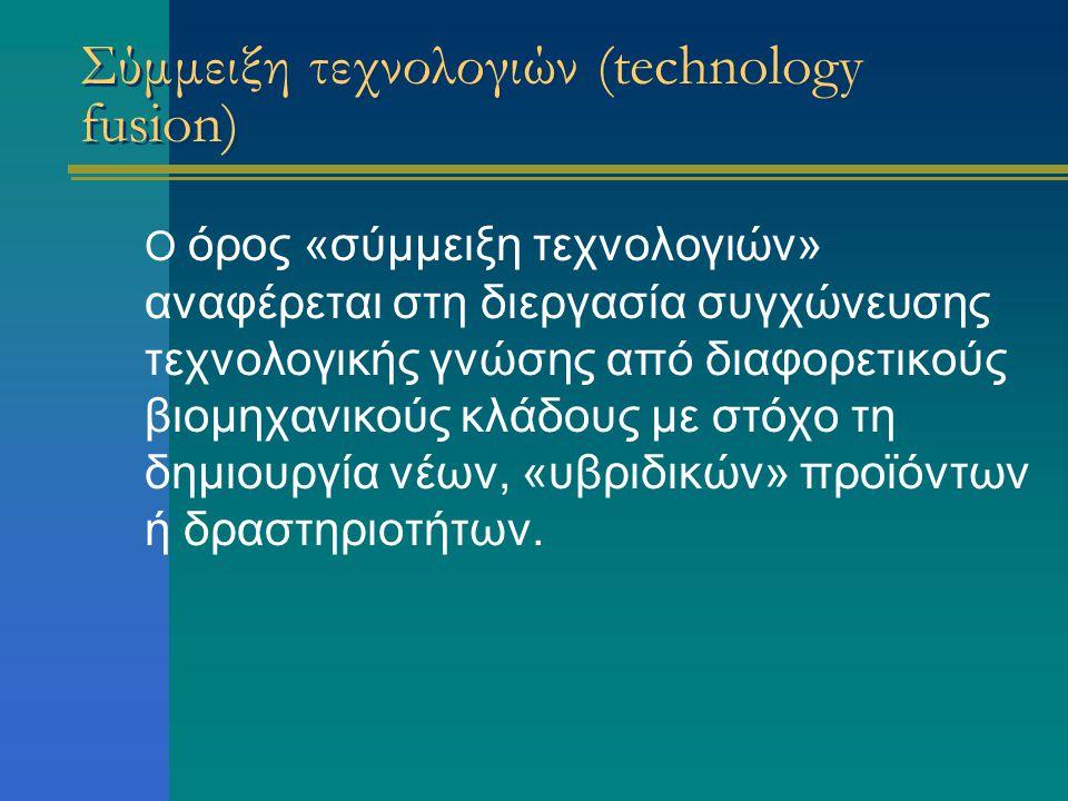 Σύμμειξη τεχνολογιών (technology fusion) Ο όρος «σύμμειξη τεχνολογιών» αναφέρεται στη διεργασία συγχώνευσης τεχνολογικής γνώσης από διαφορετικούς βιομηχανικούς κλάδους με στόχο τη δημιουργία νέων, «υβριδικών» προϊόντων ή δραστηριοτήτων.