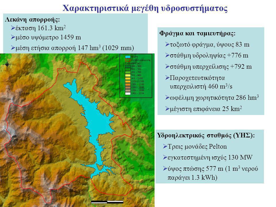 Χαρακτηριστικά μεγέθη υδροσυστήματος Λεκάνη απορροής:  έκταση 161.3 km 2  μέσο υψόμετρο 1459 m  μέση ετήσια απορροή 147 hm 3 (1029 mm) Φράγμα και ταμιευτήρας:  τοξωτό φράγμα, ύψους 83 m  στάθμη υδροληψίας +776 m  στάθμη υπερχείλισης +792 m  Παροχετευτικότητα υπερχειλιστή 460 m 3 /s  ωφέλιμη χωρητικότητα 286 hm 3  μέγιστη επιφάνεια 25 km 2 Υδροηλεκτρικός σταθμός (ΥΗΣ):  Τρεις μονάδες Pelton  εγκατεστημένη ισχύς 130 MW  ύψος πτώσης 577 m (1 m 3 νερού παράγει 1.3 kWh)
