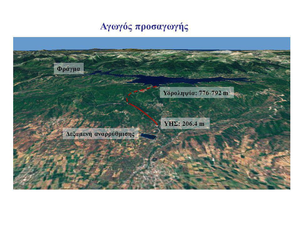 ΥΗΣ: 206.4 m Αγωγός προσαγωγής Υδροληψία: 776-792 m Φράγμα Δεξαμενή αναρρύθμισης