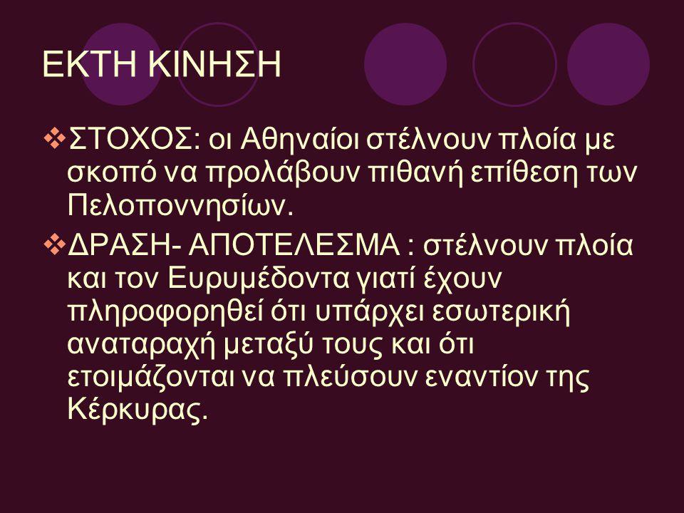 ΕΚΤΗ ΚΙΝΗΣΗ  ΣΤΟΧΟΣ: οι Αθηναίοι στέλνουν πλοία με σκοπό να προλάβουν πιθανή επίθεση των Πελοποννησίων.