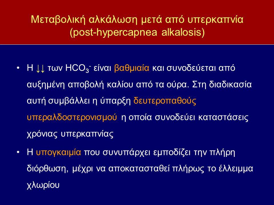 Μεταβολική αλκάλωση μετά από υπερκαπνία (post-hypercapnea alkalosis) Η ↓↓ των HCO 3 - είναι βαθμιαία και συνοδεύεται από αυξημένη αποβολή καλίου από τ