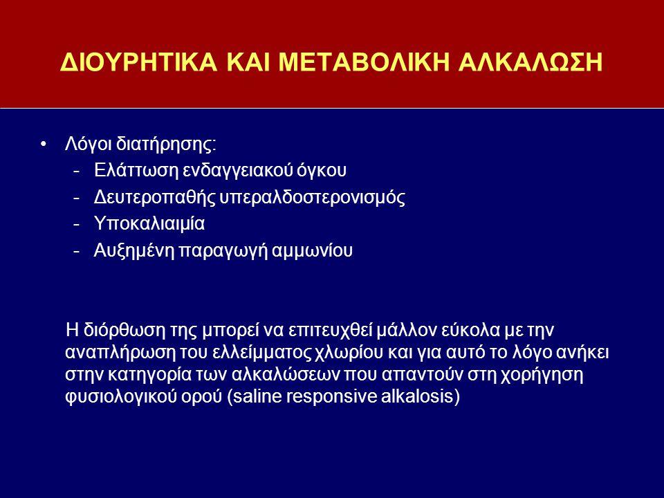 ΔΙΟΥΡΗΤΙΚΑ ΚΑΙ ΜΕΤΑΒΟΛΙΚΗ ΑΛΚΑΛΩΣΗ Λόγοι διατήρησης: -Ελάττωση ενδαγγειακού όγκου -Δευτεροπαθής υπεραλδοστερονισμός -Υποκαλιαιμία -Αυξημένη παραγωγή α