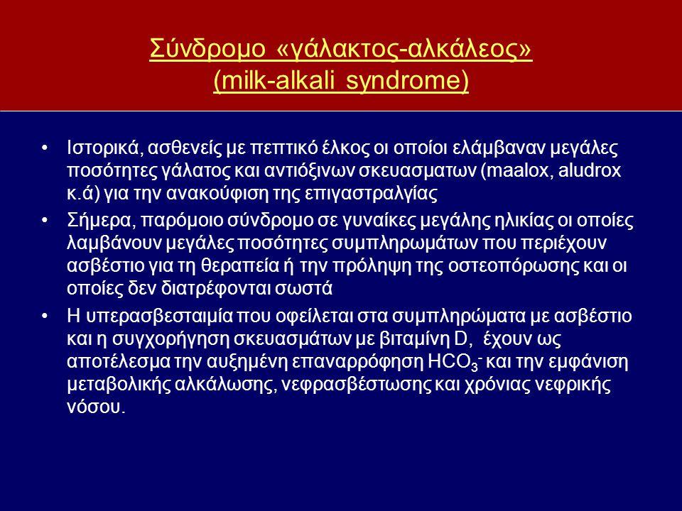 Σύνδρομο «γάλακτος-αλκάλεος» (milk-alkali syndrome) Ιστορικά, ασθενείς με πεπτικό έλκος οι οποίοι ελάμβαναν μεγάλες ποσότητες γάλατος και αντιόξινων σ
