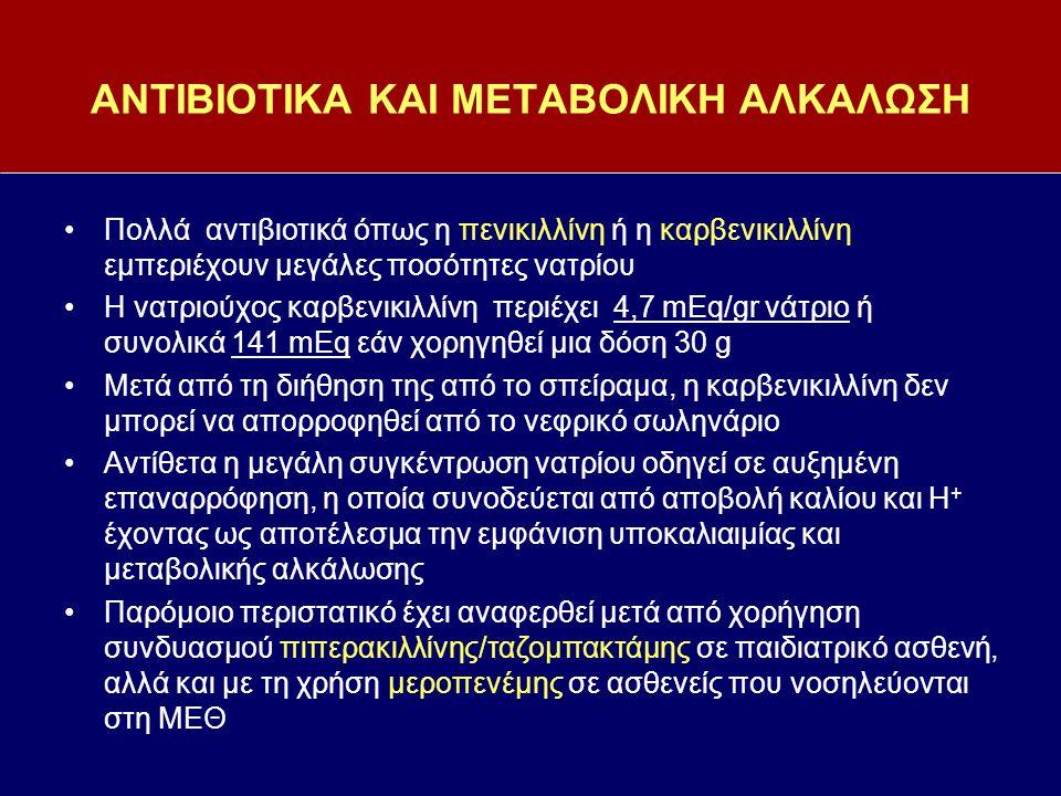 ΑΝΤΙΒΙΟΤΙΚΑ ΚΑΙ ΜΕΤΑΒΟΛΙΚΗ ΑΛΚΑΛΩΣΗ Πολλά αντιβιοτικά όπως η πενικιλλίνη ή η καρβενικιλλίνη εμπεριέχουν μεγάλες ποσότητες νατρίου Η νατριούχος καρβενι