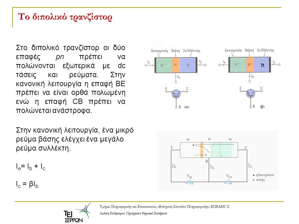 Το διπολικό τρανζίστορ Στο διπολικό τρανζίστορ οι δύο επαφές pn πρέπει να πολώνονται εξωτερικά με dc τάσεις και ρεύματα.