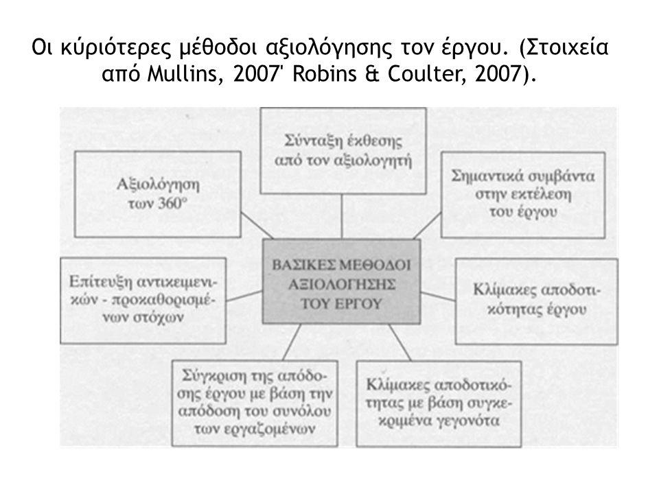 Οι κύριότερες μέθοδοι αξιολόγησης τον έργου. (Στοιχεία από Mullins, 2007 Robins & Coulter, 2007).
