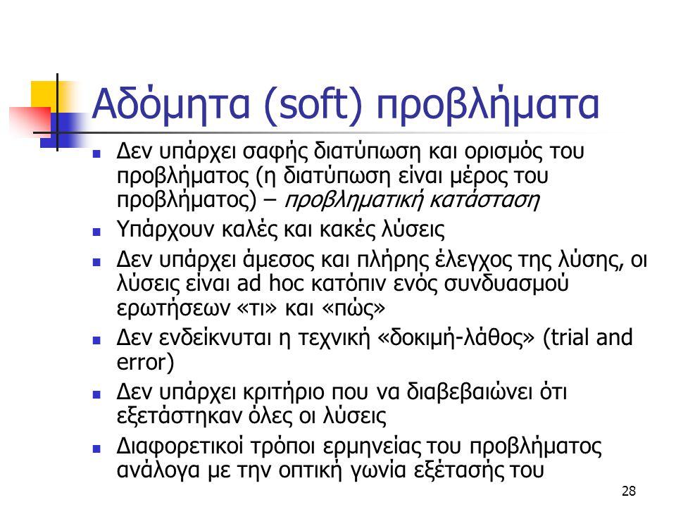 28 Αδόμητα (soft) προβλήματα Δεν υπάρχει σαφής διατύπωση και ορισμός του προβλήματος (η διατύπωση είναι μέρος του προβλήματος) – προβληματική κατάσταση Υπάρχουν καλές και κακές λύσεις Δεν υπάρχει άμεσος και πλήρης έλεγχος της λύσης, οι λύσεις είναι ad hoc κατόπιν ενός συνδυασμού ερωτήσεων «τι» και «πώς» Δεν ενδείκνυται η τεχνική «δοκιμή-λάθος» (trial and error) Δεν υπάρχει κριτήριο που να διαβεβαιώνει ότι εξετάστηκαν όλες οι λύσεις Διαφορετικοί τρόποι ερμηνείας του προβλήματος ανάλογα με την οπτική γωνία εξέτασής του