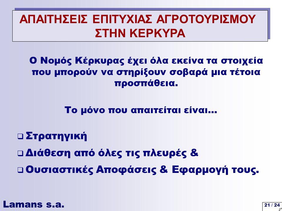 Lamans s.a. 21 / 24 Ο Νομός Κέρκυρας έχει όλα εκείνα τα στοιχεία που μπορούν να στηρίξουν σοβαρά μια τέτοια προσπάθεια. Το μόνο που απαιτείται είναι…