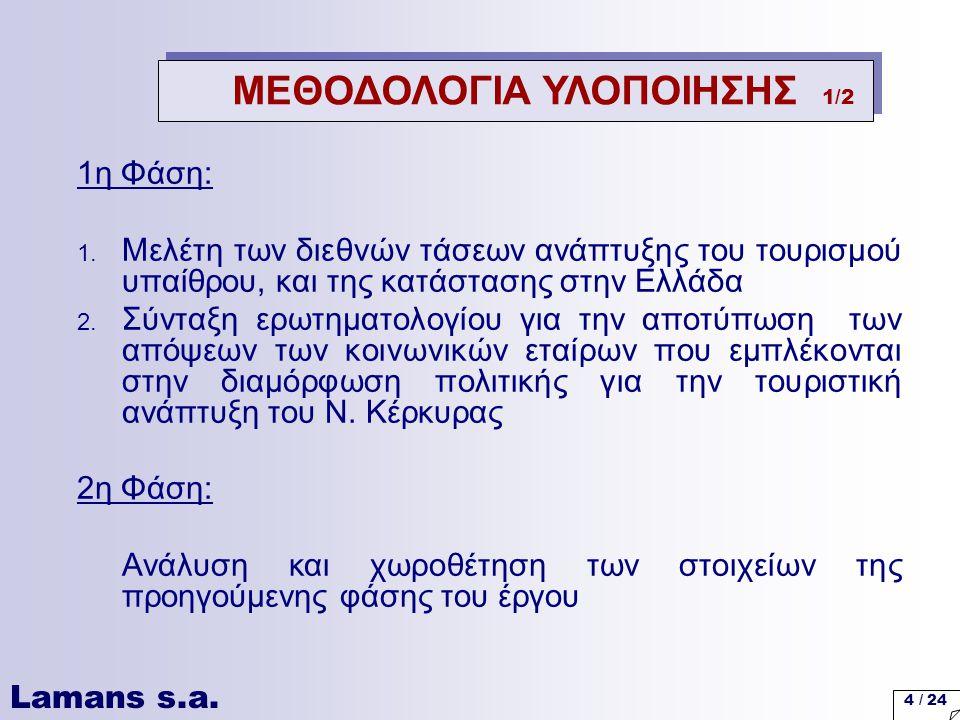 Lamans s.a. 4 / 24 1η Φάση: 1. Μελέτη των διεθνών τάσεων ανάπτυξης του τουρισμού υπαίθρου, και της κατάστασης στην Ελλάδα 2. Σύνταξη ερωτηματολογίου γ