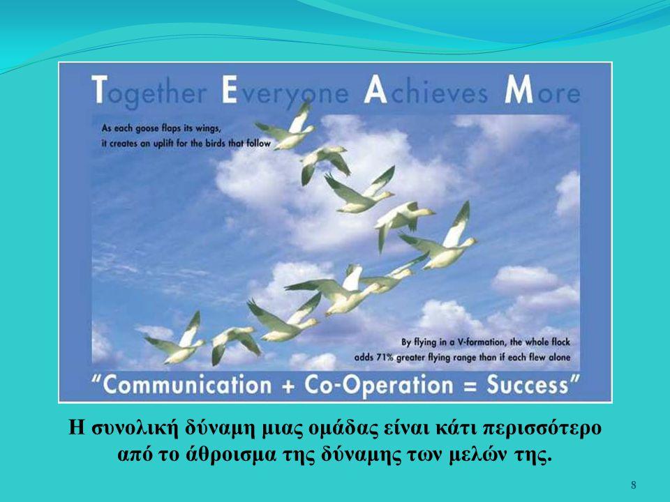 8 Η συνολική δύναμη μιας ομάδας είναι κάτι περισσότερο από το άθροισμα της δύναμης των μελών της.