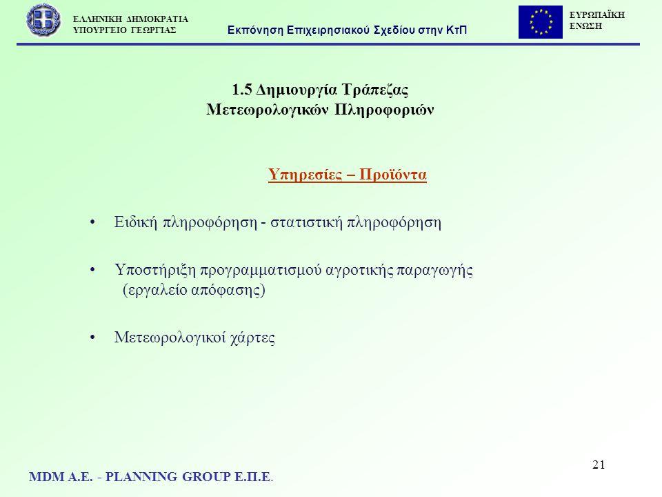 21 1.5 Δημιουργία Τράπεζας Μετεωρολογικών Πληροφοριών Υπηρεσίες – Προϊόντα Ειδική πληροφόρηση - στατιστική πληροφόρηση Υποστήριξη προγραμματισμού αγρο