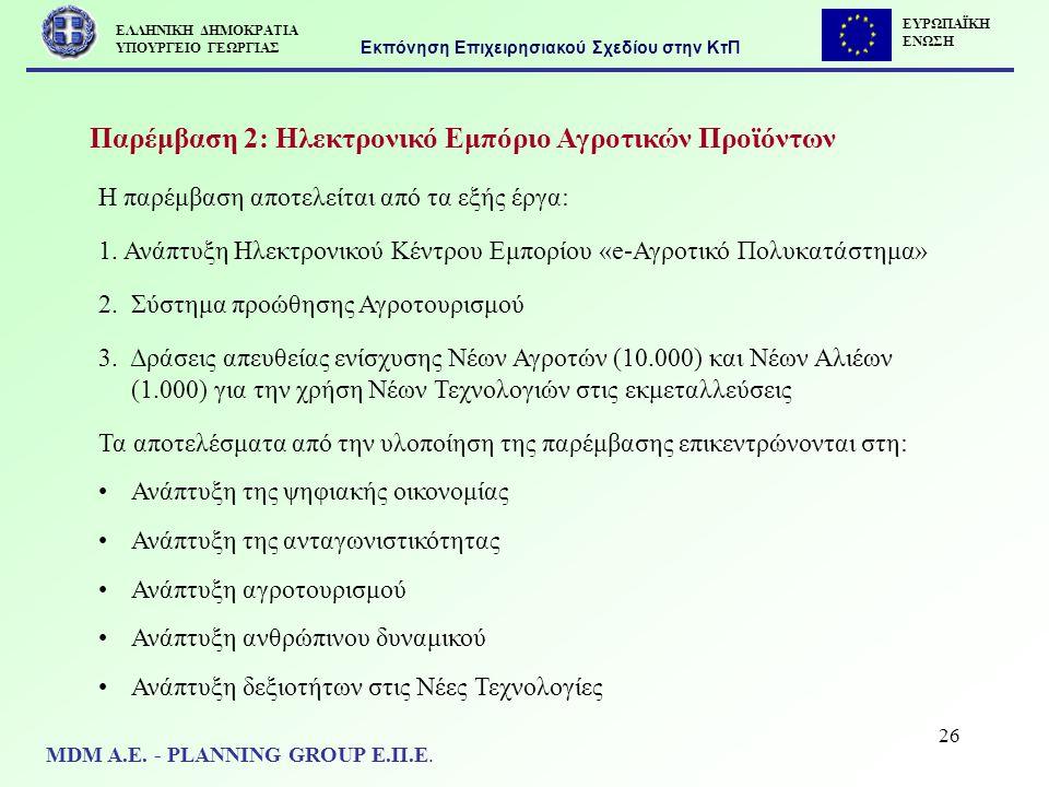 26 Παρέμβαση 2: Ηλεκτρονικό Εμπόριο Αγροτικών Προϊόντων Η παρέμβαση αποτελείται από τα εξής έργα: 1. Ανάπτυξη Ηλεκτρονικού Κέντρου Εμπορίου «e-Αγροτικ