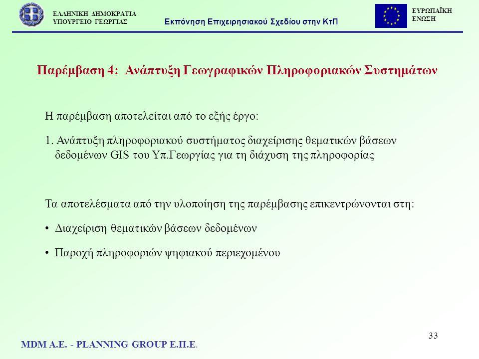 33 Παρέμβαση 4: Ανάπτυξη Γεωγραφικών Πληροφοριακών Συστημάτων Η παρέμβαση αποτελείται από το εξής έργο: 1. Ανάπτυξη πληροφοριακού συστήματος διαχείρισ