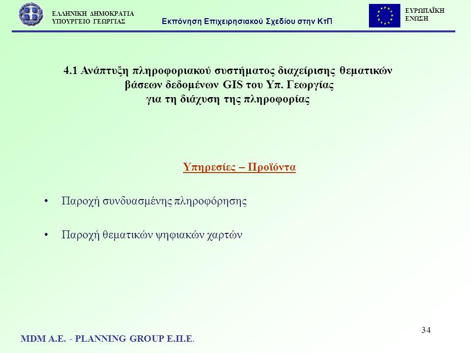 34 4.1 Ανάπτυξη πληροφοριακού συστήματος διαχείρισης θεματικών βάσεων δεδομένων GIS του Υπ. Γεωργίας για τη διάχυση της πληροφορίας Υπηρεσίες – Προϊόν