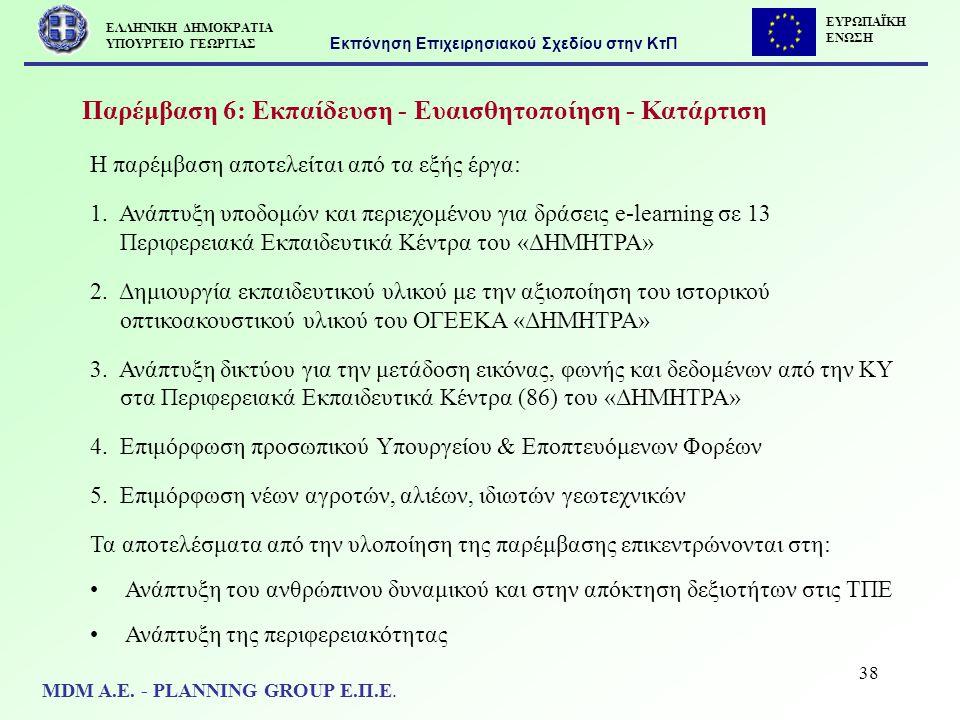 38 Παρέμβαση 6: Εκπαίδευση - Ευαισθητοποίηση - Κατάρτιση Η παρέμβαση αποτελείται από τα εξής έργα: 1. Ανάπτυξη υποδομών και περιεχομένου για δράσεις e