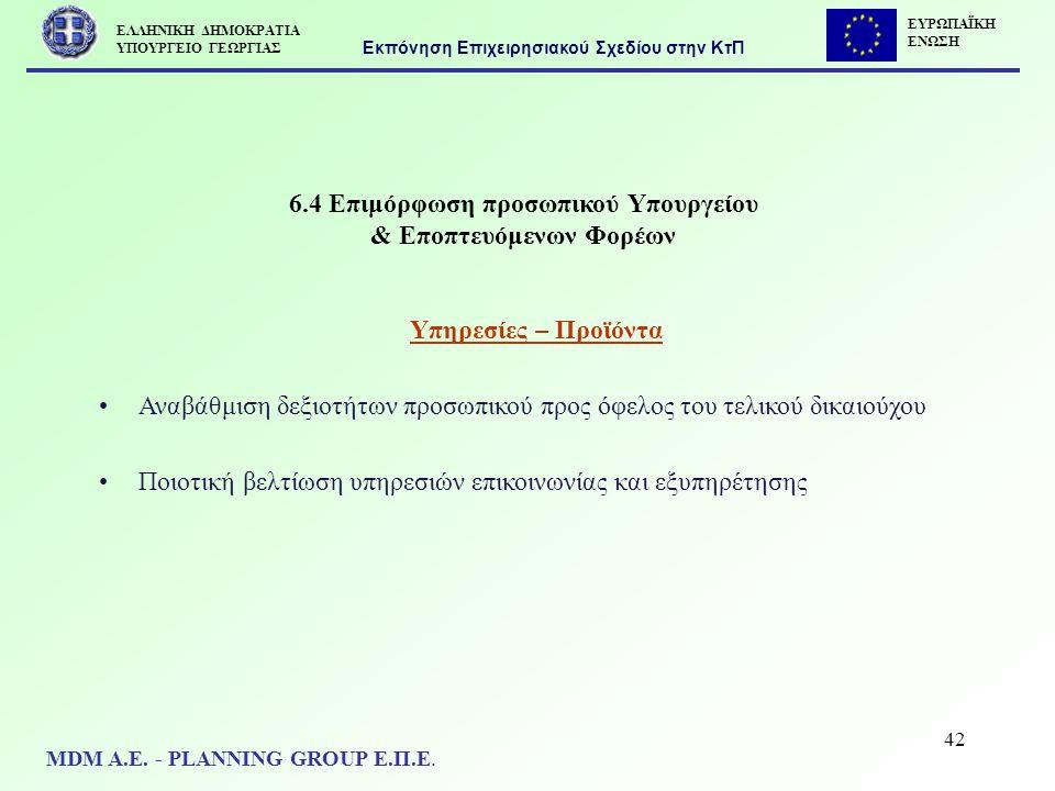 42 6.4 Επιμόρφωση προσωπικού Υπουργείου & Εποπτευόμενων Φορέων Υπηρεσίες – Προϊόντα Αναβάθμιση δεξιοτήτων προσωπικού προς όφελος του τελικού δικαιούχο