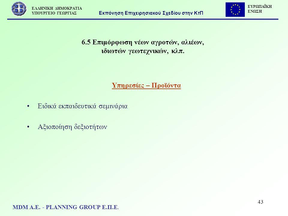 43 6.5 Επιμόρφωση νέων αγροτών, αλιέων, ιδιωτών γεωτεχνικών, κλπ. Υπηρεσίες – Προϊόντα Ειδικά εκπαιδευτικά σεμινάρια Αξιοποίηση δεξιοτήτων Εκπόνηση Επ
