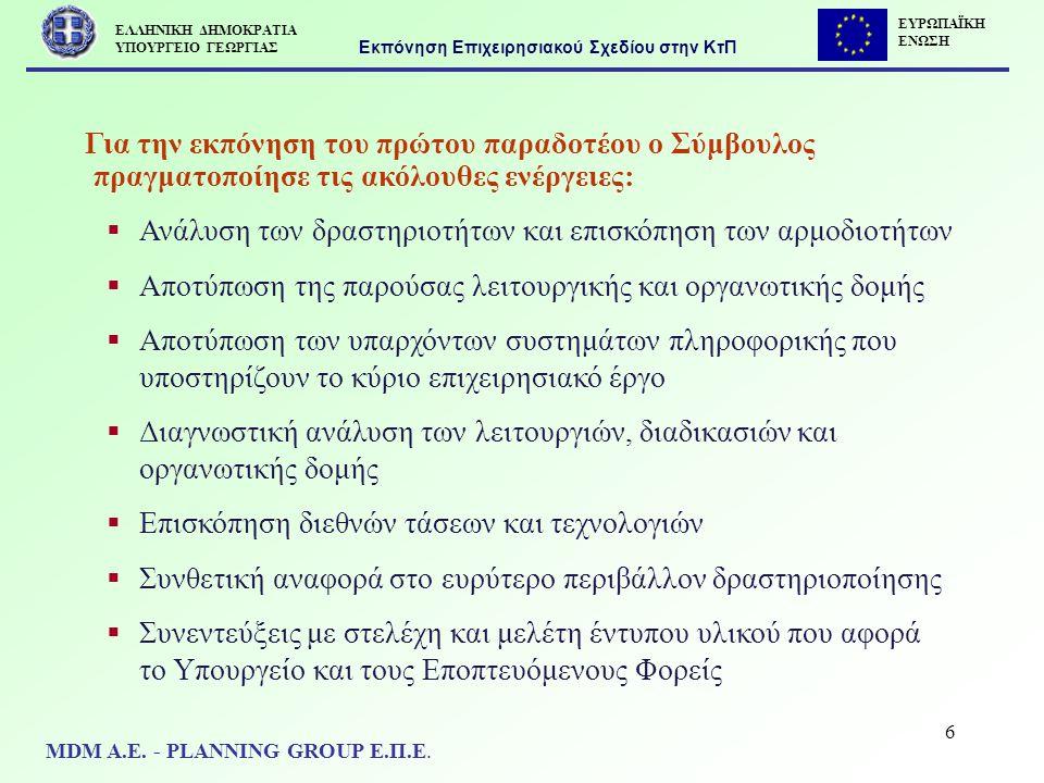 7  Με στόχο το περιεχόμενο του Επιχειρησιακού Σχεδίου να :  αποτυπώσει τον σημερινό τρόπο οργανωτικής διάθρωσης και λειτουργίας του Υπ.