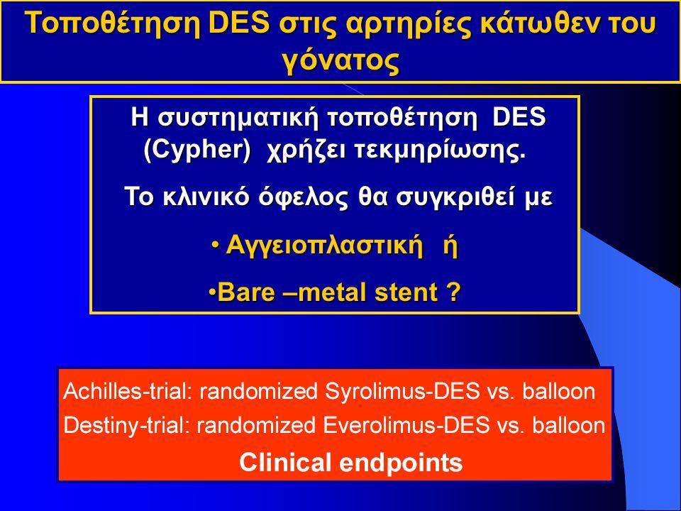 Τοποθέτηση DES στις αρτηρίες κάτωθεν του γόνατος Η συστηματική τοποθέτηση DES (Cypher) χρήζει τεκμηρίωσης.