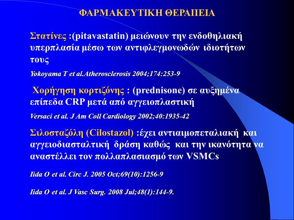ΦΑΡΜΑΚΕΥΤΙΚΗ ΘΕΡΑΠΕΙΑ Στατίνες Στατίνες :(pitavastatin) μειώνουν την ενδοθηλιακή υπερπλασία μέσω των αντιφλεγμονωδών ιδιοτήτων τους Yokoyama T et al.Atherosclerosis 2004;174:253-9 Χορήγηση κορτιζόνης Χορήγηση κορτιζόνης : (prednisone) σε αυξημένα επίπεδα CRP μετά από αγγειοπλαστική Versaci et al.