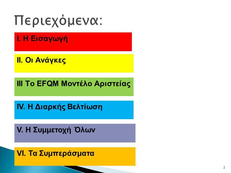 2 Ι. Η Εισαγωγή ΙΙ. Οι Ανάγκες ΙΙΙ Τo EFQM Μοντέλο Αριστείας ΙV.