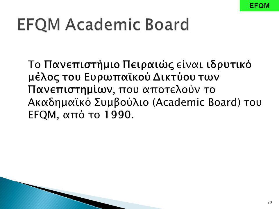 Το Πανεπιστήμιο Πειραιώς είναι ιδρυτικό μέλος του Ευρωπαϊκού Δικτύου των Πανεπιστημίων, που αποτελούν το Ακαδημαϊκό Συμβούλιο (Academic Board) του EFQM, από το 1990.