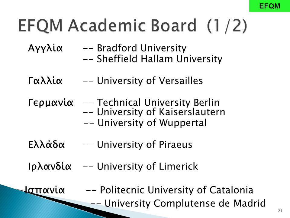 Αγγλία-- Bradford University -- Sheffield Hallam University Γαλλία -- University of Versailles Γερμανία -- Technical University Berlin -- University of Kaiserslautern -- University of Wuppertal Ελλάδα -- University of Piraeus Ιρλανδία -- University of Limerick Ισπανία -- Politecnic University of Catalonia -- University Complutense de Madrid 21 EFQM