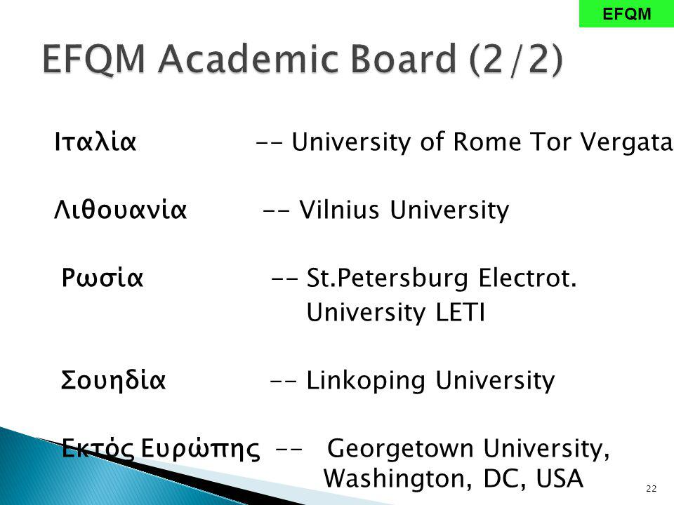 Ιταλία -- University of Rome Tor Vergata Λιθουανία -- Vilnius University Ρωσία -- St.Petersburg Electrot. University LETI Σουηδία -- Linkoping Univers