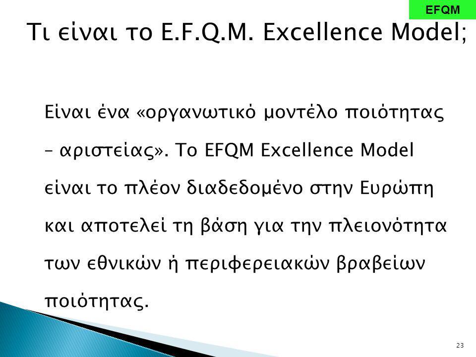Τι είναι το E.F.Q.M. Excellence Model; Είναι ένα «οργανωτικό μοντέλο ποιότητας – αριστείας».