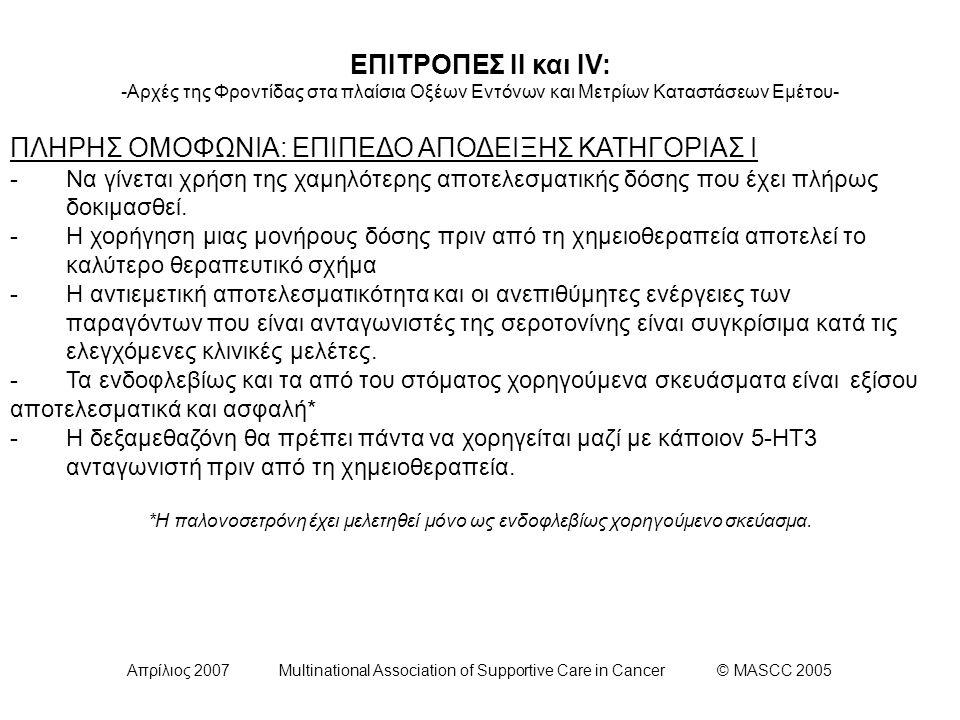 Απρίλιος 2007 Multinational Association of Supportive Care in Cancer © MASCC 2005 ΕΠΙΤΡΟΠΕΣ ΙΙ και IV: -Αρχές της Φροντίδας στα πλαίσια Οξέων Εντόνων