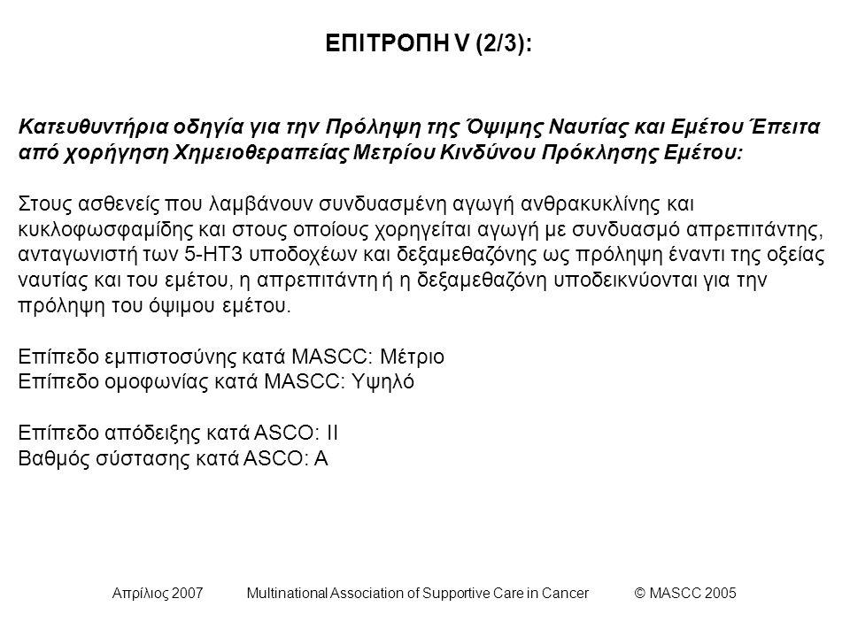 Απρίλιος 2007 Multinational Association of Supportive Care in Cancer © MASCC 2005 ΕΠΙΤΡΟΠΗ V (2/3): Κατευθυντήρια οδηγία για την Πρόληψη της Όψιμης Ναυτίας και Εμέτου Έπειτα από χορήγηση Χημειοθεραπείας Μετρίου Κινδύνου Πρόκλησης Εμέτου: Στους ασθενείς που λαμβάνουν συνδυασμένη αγωγή ανθρακυκλίνης και κυκλοφωσφαμίδης και στους οποίους χορηγείται αγωγή με συνδυασμό απρεπιτάντης, ανταγωνιστή των 5-HT3 υποδοχέων και δεξαμεθαζόνης ως πρόληψη έναντι της οξείας ναυτίας και του εμέτου, η απρεπιτάντη ή η δεξαμεθαζόνη υποδεικνύονται για την πρόληψη του όψιμου εμέτου.