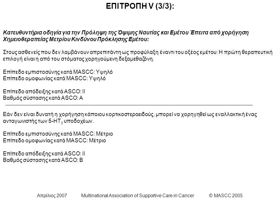 Απρίλιος 2007 Multinational Association of Supportive Care in Cancer © MASCC 2005 ΕΠΙΤΡΟΠΗ V (3/3): Κατευθυντήρια οδηγία για την Πρόληψη της Όψιμης Ναυτίας και Εμέτου Έπειτα από χορήγηση Χημειοθεραπείας Μετρίου Κινδύνου Πρόκλησης Εμέτου: Στους ασθενείς που δεν λαμβάνουν απρεπιτάντη ως προφύλαξη έναντι του οξέος εμέτου: Η πρώτη θεραπευτική επιλογή είναι η από του στόματος χορηγούμενη δεξαμεθαζόνη.