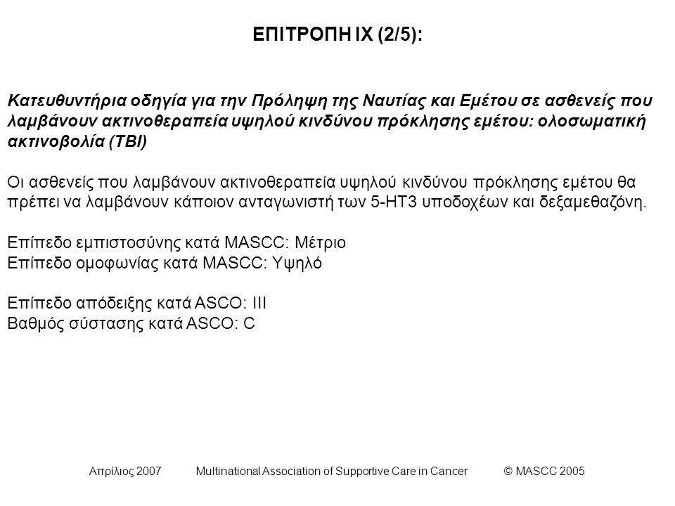 Απρίλιος 2007 Multinational Association of Supportive Care in Cancer © MASCC 2005 ΕΠΙΤΡΟΠΗ ΙΧ (2/5): Κατευθυντήρια οδηγία για την Πρόληψη της Ναυτίας