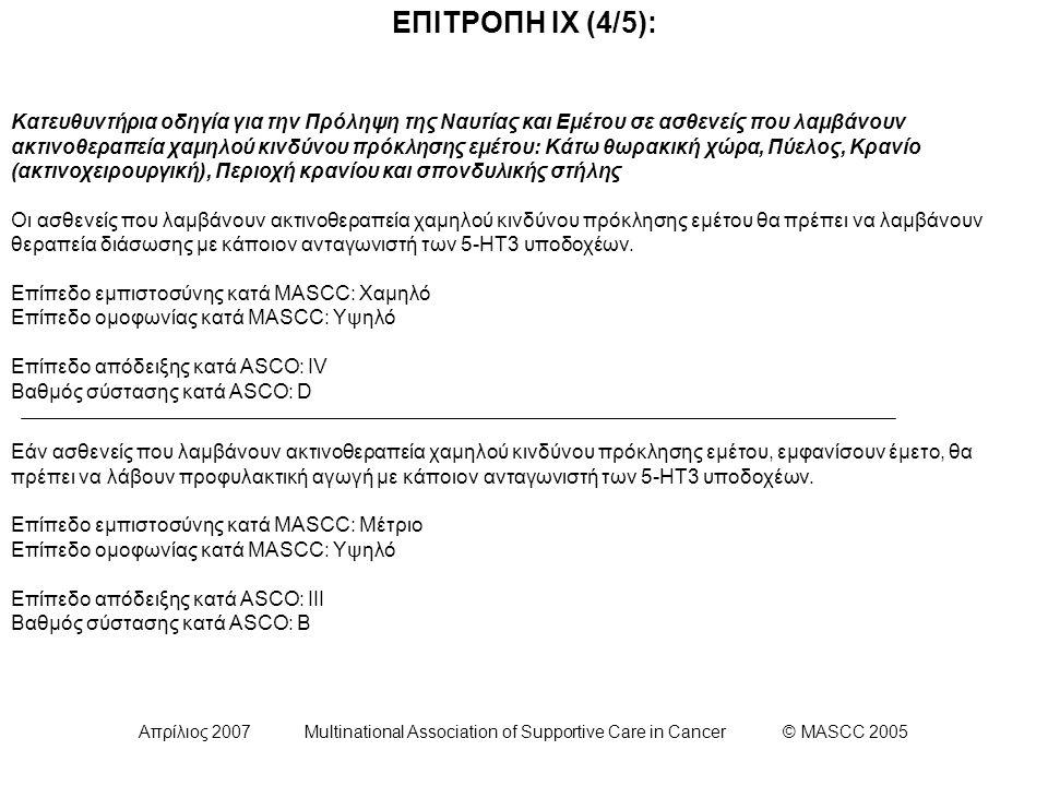 Απρίλιος 2007 Multinational Association of Supportive Care in Cancer © MASCC 2005 ΕΠΙΤΡΟΠΗ ΙΧ (4/5): Κατευθυντήρια οδηγία για την Πρόληψη της Ναυτίας