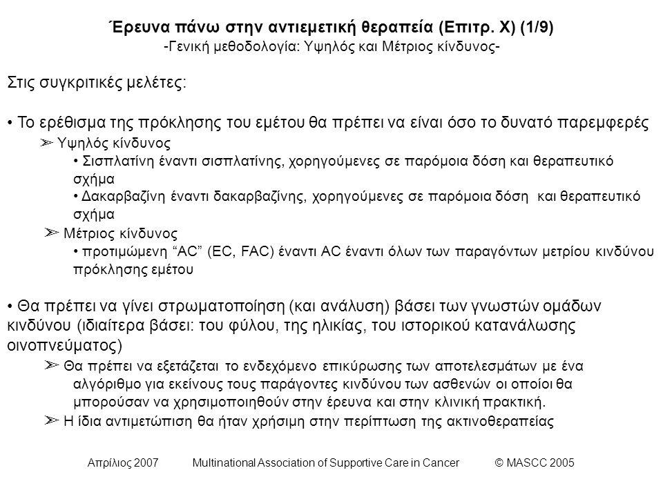 Απρίλιος 2007 Multinational Association of Supportive Care in Cancer © MASCC 2005 Έρευνα πάνω στην αντιεμετική θεραπεία (Επιτρ. Χ) (1/9) -Γενική μεθοδ