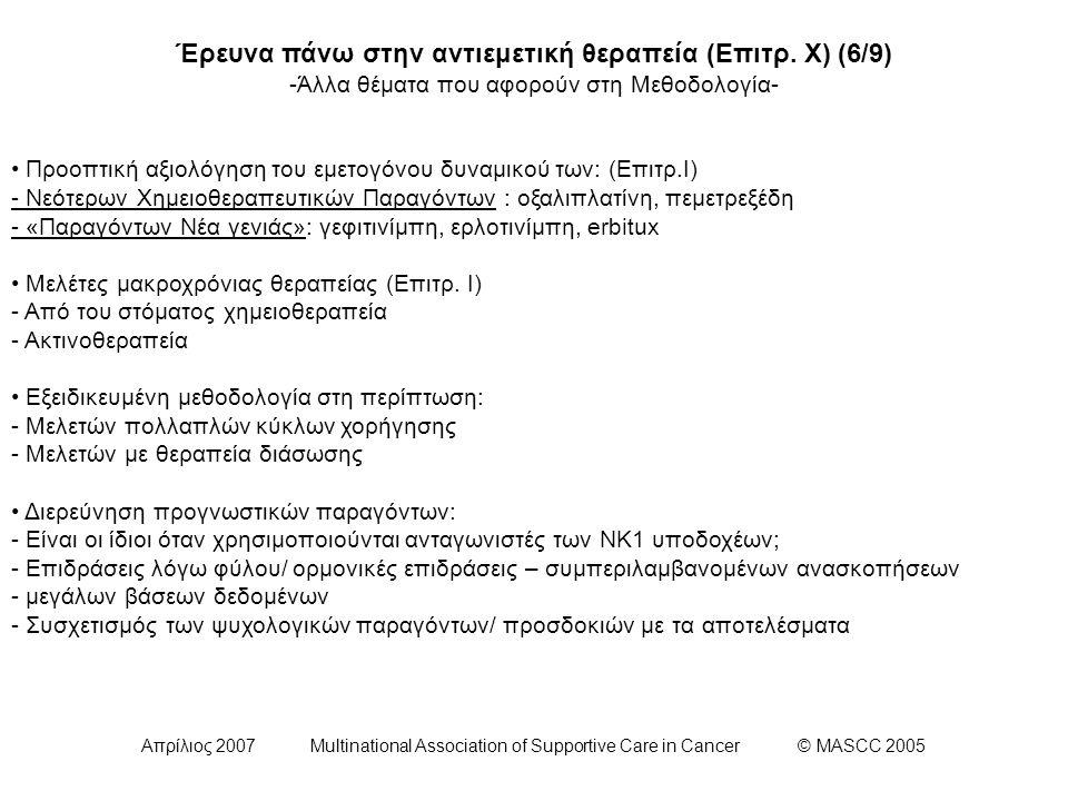 Απρίλιος 2007 Multinational Association of Supportive Care in Cancer © MASCC 2005 Έρευνα πάνω στην αντιεμετική θεραπεία (Επιτρ. Χ) (6/9) -Άλλα θέματα