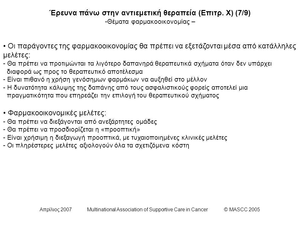Απρίλιος 2007 Multinational Association of Supportive Care in Cancer © MASCC 2005 Έρευνα πάνω στην αντιεμετική θεραπεία (Επιτρ. Χ) (7/9) -Θέματα φαρμα