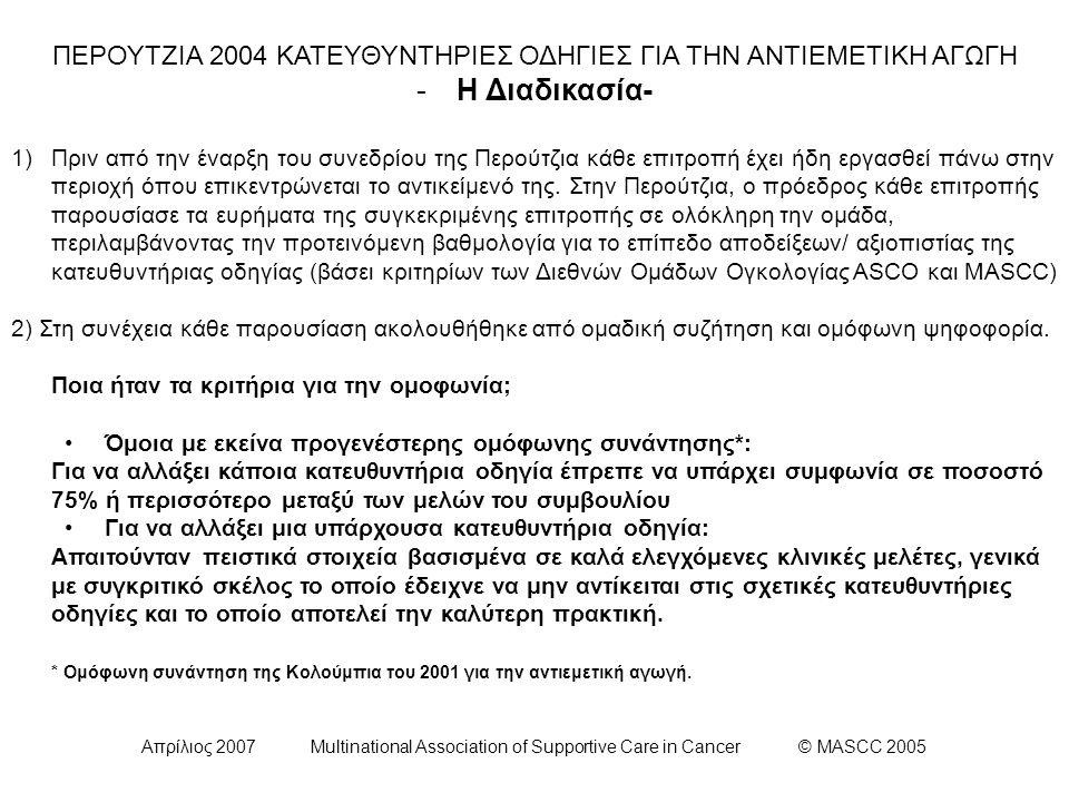 Απρίλιος 2007 Multinational Association of Supportive Care in Cancer © MASCC 2005 ΕΠΙΤΡΟΠΗ ΙΙΙ: Κατευθυντήρια οδηγία για την Πρόληψη της Όψιμης Ναυτίας και Εμέτου Έπειτα από χορήγηση Χημειοθεραπείας Υψηλού Κινδύνου Πρόκλησης Εμέτου: Οι ασθενείς στους οποίους χορηγείται σισπλατίνη και λαμβάνουν αγωγή με συνδυασμό απρεπιτάντης, κάποιου ανταγωνιστή των 5-HT3 υποδοχέων και δεξαμεθαζόνης για την πρόληψη οξέος έμετου και ναυτίας, προτείνεται ο συνδυασμός δεξαμεθαζόνης και απρεπιτάντης για την πρόληψη του όψιμου εμέτου λόγω της θεραπευτικής του υπεροχής συγκριτικά με τη μονοθεραπεία με δεξαμεθαζόνη.
