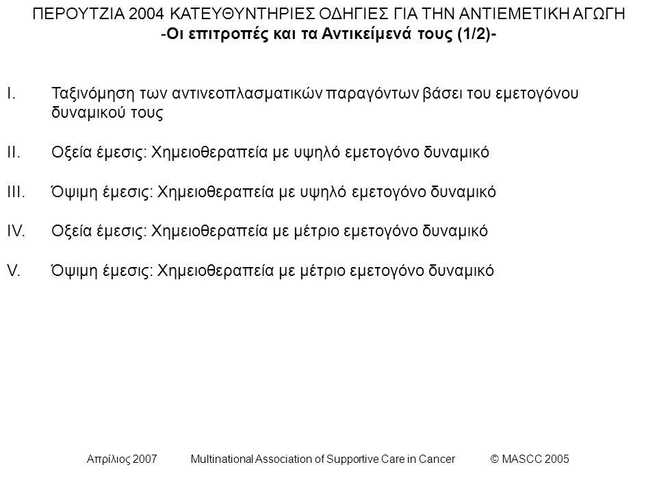 Απρίλιος 2007 Multinational Association of Supportive Care in Cancer © MASCC 2005 ΕΠΙΤΡΟΠΗ ΙV (1/3): Κατευθυντήρια οδηγία για την Πρόληψη της Οξείας Ναυτίας και Εμέτου Έπειτα από χορήγηση Χημειοθεραπείας Μετρίου Κινδύνου Πρόκλησης Εμέτου: Οι γυναίκες που λαμβάνουν συνδυασμένη αγωγή ανθρακυκλίνης και κυκλοφωσφαμίδης διατρέχουν ιδιαίτερα υψηλό κίνδυνο εμφάνισης εμέτου και ναυτίας.
