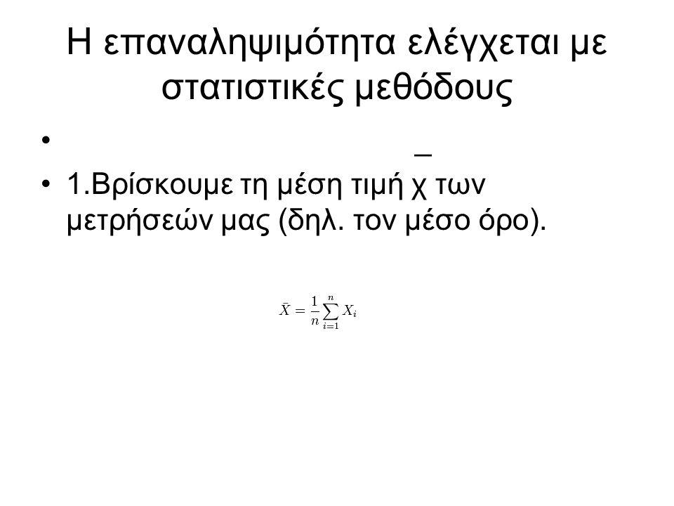 H επαναληψιμότητα ελέγχεται με στατιστικές μεθόδους _ 1.Βρίσκουμε τη μέση τιμή χ των μετρήσεών μας (δηλ. τον μέσο όρο).