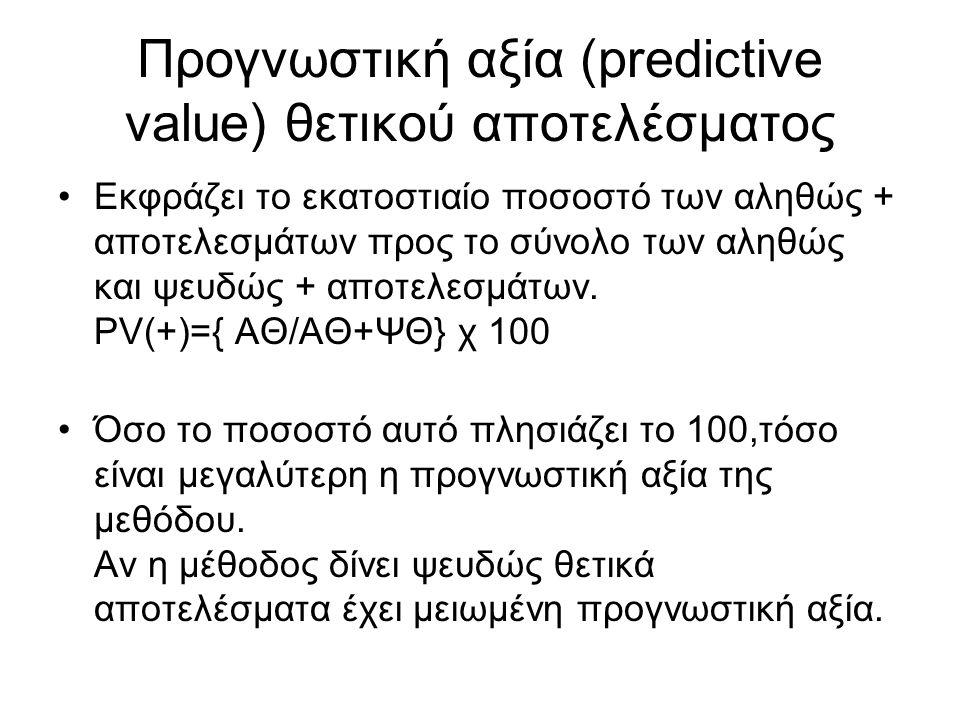Προγνωστική αξία (predictive value) θετικού αποτελέσματος Εκφράζει το εκατοστιαίο ποσοστό των αληθώς + αποτελεσμάτων προς το σύνολο των αληθώς και ψευ