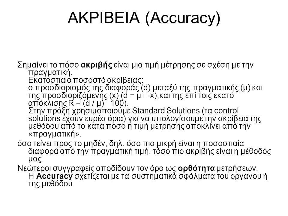 ΑΚΡΙΒΕΙΑ (Accuracy) Σημαίνει το πόσο ακριβής είναι μια τιμή μέτρησης σε σχέση με την πραγματική. Εκατοστιαίο ποσοστό ακρίβειας: ο προσδιορισμός της δι