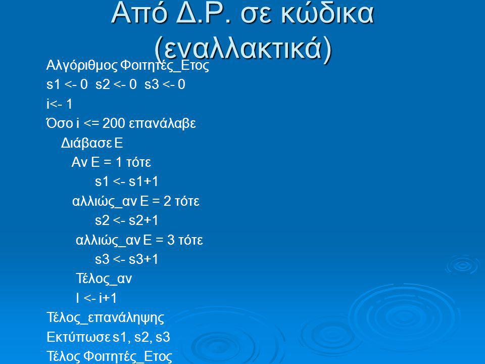 Από Δ.Ρ. σε κώδικα (εναλλακτικά) Αλγόριθμος Φοιτητές_Ετος s1 <- 0 s2 <- 0 s3 <- 0 i<- 1 Όσο i <= 200 επανάλαβε Διάβασε Ε Αν Ε = 1 τότε s1 <- s1+1 αλλι