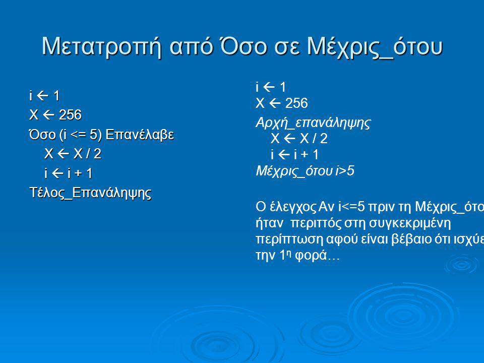 Αλγόριθμος Φιλανθρωπία Αρχή_επανάληψης Αρχή_επανάληψης Διάβασε ποσό Διάβασε ποσό Μέχρις_ότου ποσό > 0 Μέχρις_ότου ποσό > 0 Έξοδα <- 0 Έξοδα <- 0 πακέτα <- 0 πακέτα <- 0 πακέτα_2 <- 0 πακέτα_2 <- 0 max <- -1 !μια πολύ μικρή τιμή max <- -1 !μια πολύ μικρή τιμή min <- 815000000000 !μια πολύ μεγάλη τιμή min <- 815000000000 !μια πολύ μεγάλη τιμή Διάβασε τιμή Διάβασε τιμή Όσο Έξοδα + τιμή = 0 επανάλαβε Όσο Έξοδα + τιμή = 0 επανάλαβε Διάβασε μάρκα Διάβασε μάρκα πακέτα <- πακέτα + 1 Αν τιμή > max τότε max <- τιμή max <- τιμή maxM <- μάρκα maxM <- μάρκαΤέλος_αν Αν τιμή < min τότε min <- τιμή min <- τιμήΤέλος_αν Έξοδα <- Έξοδα + τιμή Αν τιμή > 2 τότε πακέτα_2 <- πακέτα_2 + 1 πακέτα_2 <- πακέτα_2 + 1Τέλος_αν Διάβασε τιμή Τέλος_επανάληψης Αν Έξοδα = ποσό τότε Εμφάνισε ''Εξαντλήθηκε όλο το ποσό'' Τέλος_αν Εμφάνισε ''Πλήθος πακέτων με κόστος μεγαλύτερο των 2 € : '', πακέτα_2 Αν πακέτα > 0 τότε .
