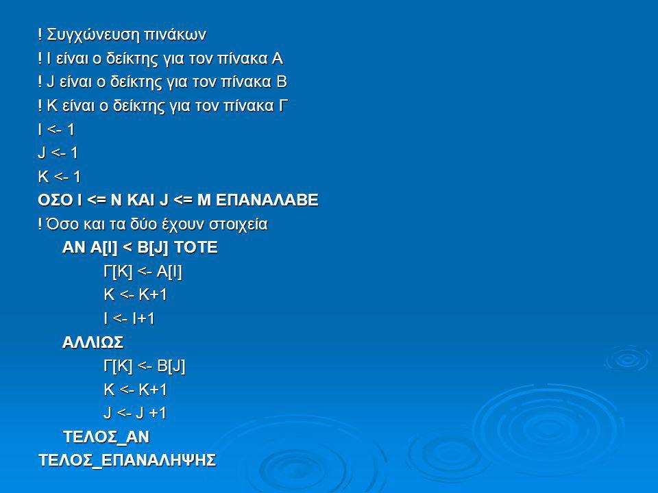 ! Συγχώνευση πινάκων ! Ι είναι ο δείκτης για τον πίνακα Α ! J είναι ο δείκτης για τον πίνακα Β ! Κ είναι ο δείκτης για τον πίνακα Γ Ι <- 1 J <- 1 K <-