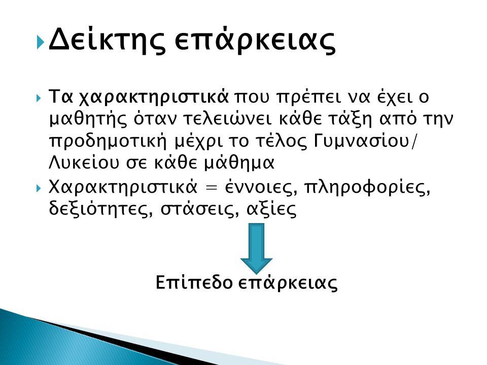  Δείκτης επάρκειας  Τα χαρακτηριστικά που πρέπει να έχει ο μαθητής όταν τελειώνει κάθε τάξη από την προδημοτική μέχρι το τέλος Γυμνασίου/ Λυκείου σε κάθε μάθημα  Χαρακτηριστικά = έννοιες, πληροφορίες, δεξιότητες, στάσεις, αξίες Επίπεδο επάρκειας