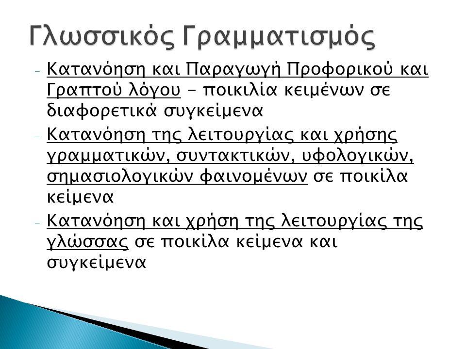 - Κατανόηση και Παραγωγή Προφορικού και Γραπτού λόγου - ποικιλία κειμένων σε διαφορετικά συγκείμενα - Κατανόηση της λειτουργίας και χρήσης γραμματικών, συντακτικών, υφολογικών, σημασιολογικών φαινομένων σε ποικίλα κείμενα - Κατανόηση και χρήση της λειτουργίας της γλώσσας σε ποικίλα κείμενα και συγκείμενα